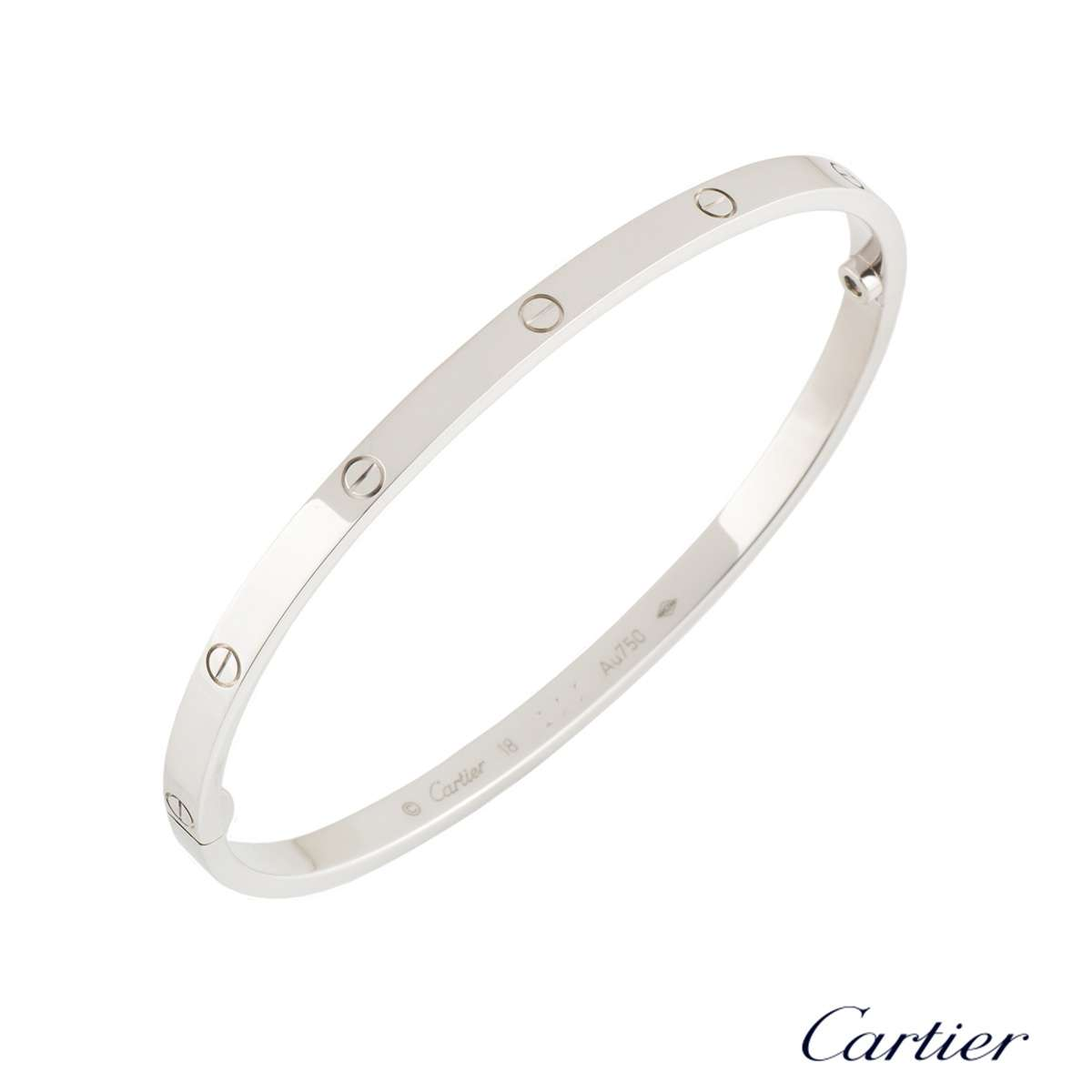 Cartier White Gold Love Bracelet SM Size 18 B6047418
